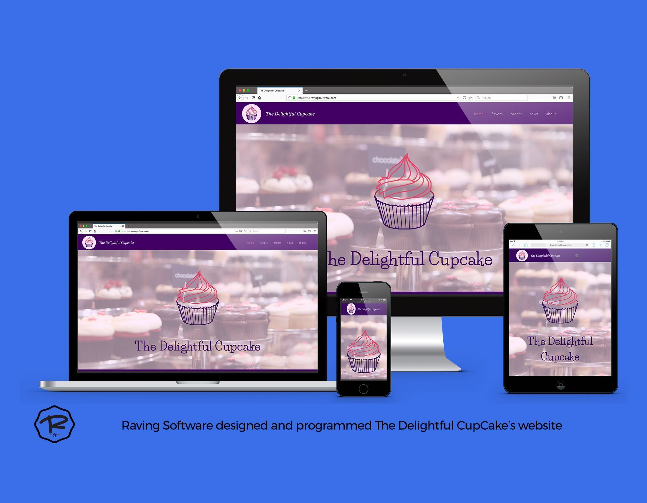 The Delightful Cupcake website created by Raving Software