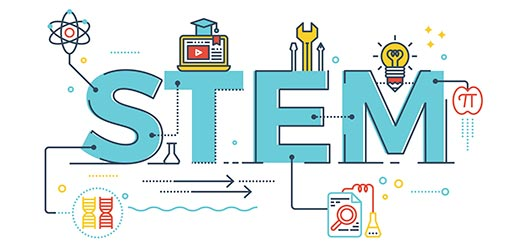 STEM graphic/logo in aqua with various STEM-related icons attached to the word STEM